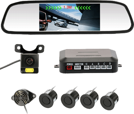 Backup Camera for Campers Accfly Rear View Mirror Camera With 4 Parking Sensors Vansage