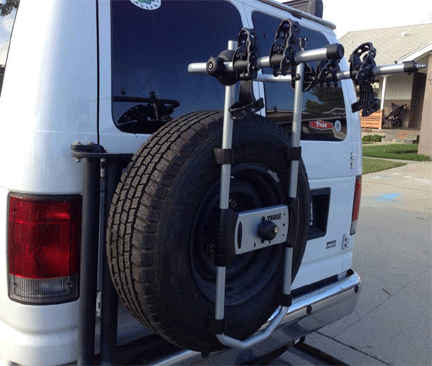 bike racks for campervans Thule 963PRO Spare Me 2 Bike Spare Tire Bike Carrier Vansage