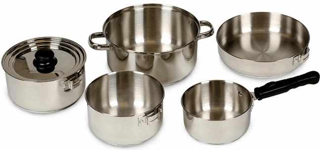 campsite cooking equipment Vansage Stansport STAINLESS COOK SET