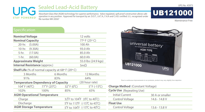 Vansage UPG 100ah agm best battery for campervan