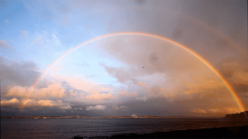 vansage Seattle campervan rental Rainbow over Puget Sound
