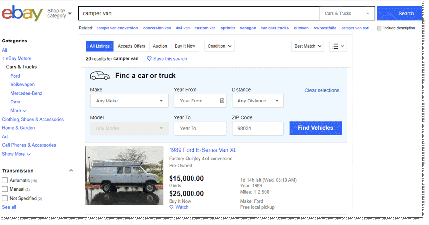 Vansage Ebay Search used campervans for sale by owner