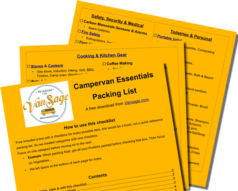 Free Download Vansage Campervan Essentials Checklist